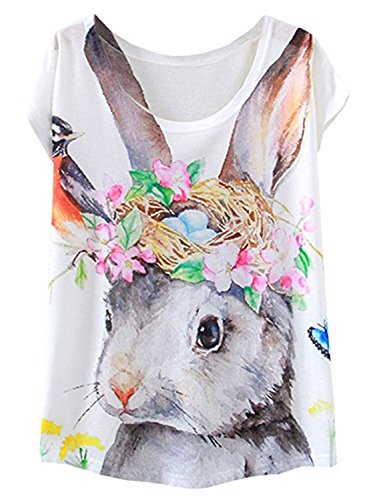 futurino Women's Bunny Blooding Eggs Print Short Sleeve Tops Casual Tee (S, ()