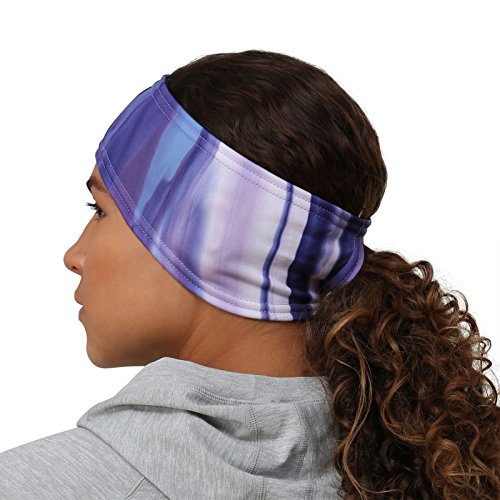 TrailHeads Women's Print Ponytail Headband – 12 prints  - Made in USA - purple waves by TrailHeads (Image #4)