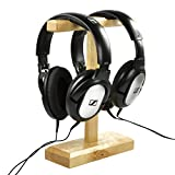 COSMOS Universal Wooden Dual Headphone Stand Hanger Holder