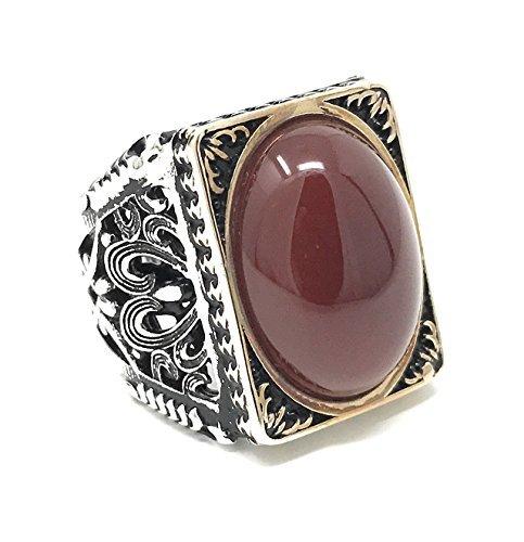 KAR 925K Stamped Sterling Silver Red Agate (Aqeeq) Men's Large Ring I1N (10) ()