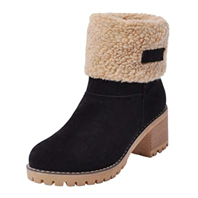 9f27a96823f9 SaraIris Women's Snow Boots Winter Suede Warm Fur Chunky Heel Short Ankle  Boots Black