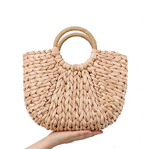 JAY-LONG Straw Bag, Holiday Creative Weave Bamboo Handle Tote, Women Big Shoulder Bag Rattan Straw Handbag Travel Basket Bag, Natural Corn Husk, 2838Cm