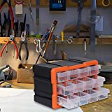 VI-CO Stackable and Expandable Storage Box Hangable Hardware Organizer Bins Portable Arts Crafts Organizer Case with Adjustable Dividers