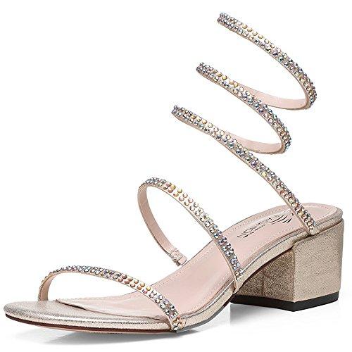 Jqdyl Tacones Sandalias de Diamantes de Imitación Femenina Verano Nueva Moda con Tacones Altos Zapatos de Mujer, 39, Golden 39|Golden