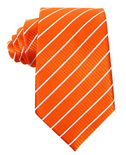 (Striped Ties for Men - Woven Necktie - Orange w/White)