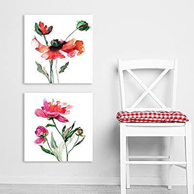 2 Panel Square Watercolor Style Red Flowers on...16