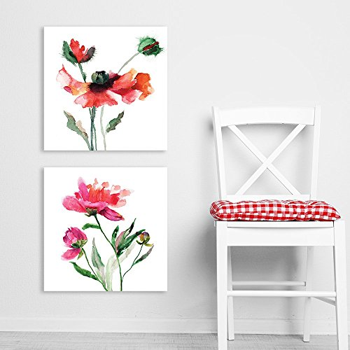 2 Panel Square Watercolor Style Red Flowers on White Background x 2 Panels