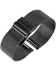 MGHN klockband Svart/Silver/Rose Golden 18mm / 20mm / 22mm Watch Band Mesh Stainless Steel Strap Fold Over Clasp Klockor Ersättningsarmband