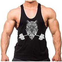 Owl Dumbells Weight Training Men's Stringer Tank Top Y Back Black