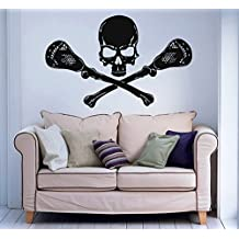 Lacrosse Skull Wall Decal Vinyl Sticker Decals Lacrosse Logo Emblem Stamp Sport Home Decor Kids Vinyl Sticker Wall Decal Nursery Bedroom Murals Playroom Nursery Art (6079)