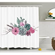 Succulent Shower Curtain by Ambesonne, Feathers Flowers Cacti Ethnic Hipster Elements Vintage Fashion, Fabric Bathroom Decor Set with Hooks, 70 Inches, Sage Green Light Pink Mauve