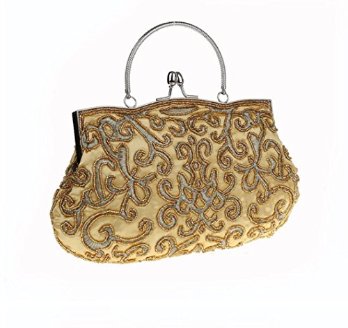 Retro Ladies FZHLY Dress Clutch Cross Bag Bag Gold Bag Evening Shoulder Bridal Couture Chic Dress Embroidery Heavy 55AnUSqpW