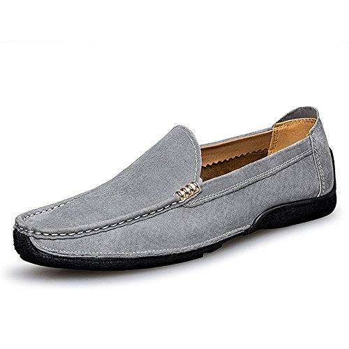 vera in 5 Flat Mocassini Scarpe on Handwork Business MUS Shoes barca da pelle 7 guida Grigio da Color BBethun Mocassini Dimensione Fashion Slip pelle scamosciata Mocassini da uomo Suture Grigio q1pwxv