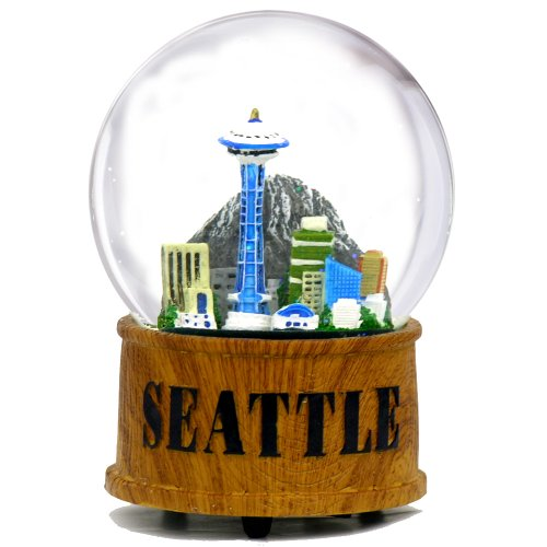 - City-Souvenirs Seattle Snow Globe Musical Glass Dome with Skyline and Space Needle in Seattle Snow Globes Collection, 5.5 Inches