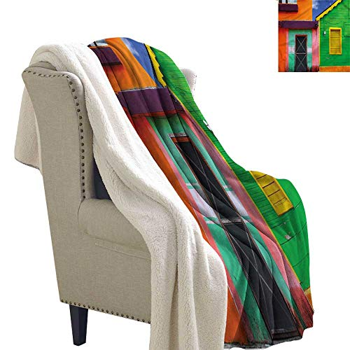 - AndyTours Baby Blanket Mexican Colorful Caribbean Houses Washable Shaggy Fleece Blanket W59 x L47
