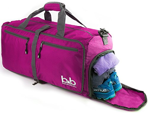 Bb Bag (BB Bags&Backpacks - Medium Gym Duffle Bag with Pockets - Sports Gear Bag for Men and Women - Foldable Lightweight Travel Bag (Pink))