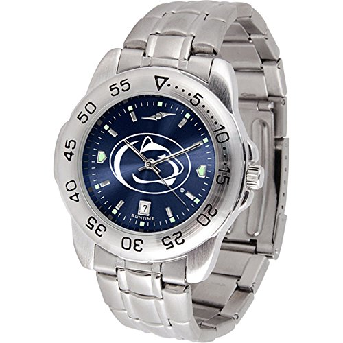 (SunTime Penn State Nittany Lions Sport Steel Band Ano-Chrome Men's Watch )