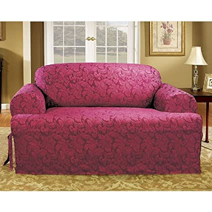 Amazon Com Sure Fit Scroll T Cushion Sofa Slipcover Burgundy