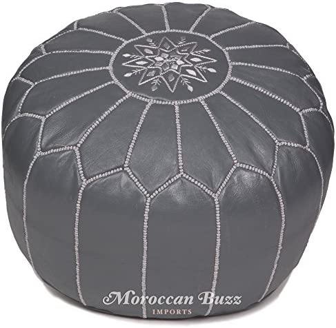 Moroccan Buzz Premium Stuffed Leather Pouf Ottoman
