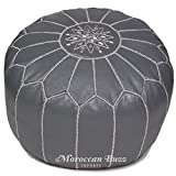 Moroccan Buzz Premium Leather Pouf Ottoman Cover, Grey (UNSTUFFED Pouf)
