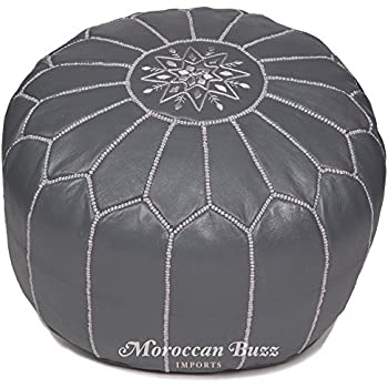 Amazon Com Moroccan Buzz Premium Leather Pouf Ottoman
