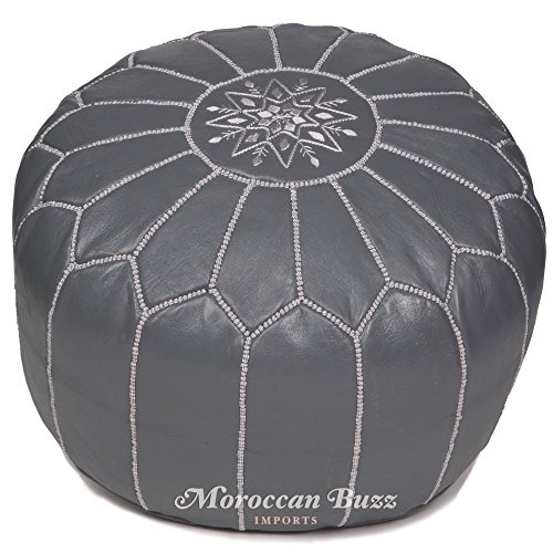 Moroccan Buzz Premium Leather Pouf Ottoman Cover, Grey (UNSTUFFED Pouf)