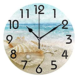Naanle 3D Stylish Beautiful Summer Beach Seashell with Big Pearl Print Round Wall Clock Decorative, 9.5 Inch Battery Operated Quartz Analog Quiet Desk Clock for Home,Office,School