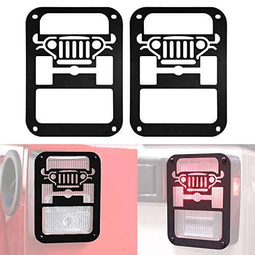 DIYTuning Jeep Tail lamp Tail Light Cover Trim Guards Protector for Jeep Wrangler JK JKU Unlimited Rubicon Sahara Sport Accessories Parts 2007 2008 2009 2010 2011 2012 2013 2014 2015 2016 2017