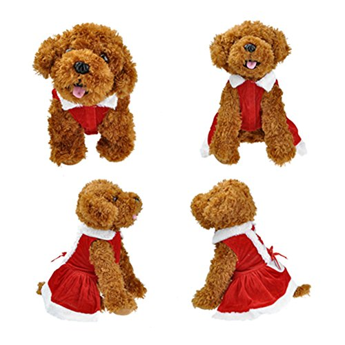 Yoption Dog Puppy Pet Christmas Skirt Santa Claus Dress Costume Dog Outwear Coat Apparel (XS) (Puppy Fancy Dress)