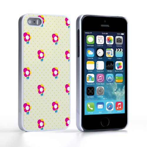 Caseflex iPhone 5 / 5S Case Yellow / Pink Dainty Dots And Flowers Hard Cover