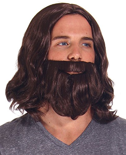 Mens Cosplay Costume Biblical Jesus Wigs and Beard Set, Brown]()