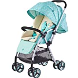 Baby Stroller, Light to sit Reclining Two-Way Stroller with one Hand Folded with 5-Point Safety Harness Multi-Position Reclining Seat Large Storage Basket Suspension Wheels