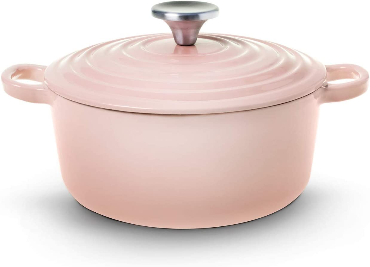 House of Living Art 2.7-Quart Enameled Cast Iron Covered Casserole – Pink Blush