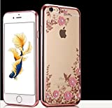 iPhone 6/6s Crystal TPU Cover-Aurora Fashion Transparent Hard PC + TPU Graden Flower Case with Original Swarovski Element for iPhone 6/6s 4.7 Inch(Rose Gold+Pink)