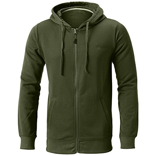 Olive Green Colour - INFLATION Men's Zip-up Hoodie Long Sleeve French Terry Lightweight Basic Zip-up Hoodie Jacket 8 Color Choices Olive Green