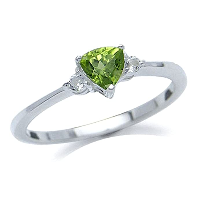 Natural Peridot /& White Topaz 925 Sterling Silver Engagement Ring