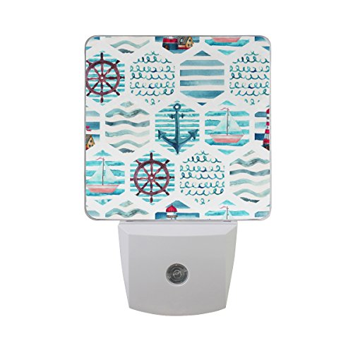 Naanle Set of 2 Nautical Theme In Patchwork Marine Lighthouse Yacht Sailboat Anchor Ocean Waves Water Color Navy Mosaic Auto Sensor LED Dusk To Dawn Night Light Plug In Indoor (2 Color Patch Auto)