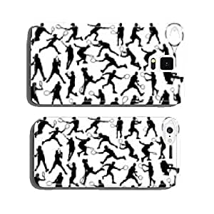 Black silhouettes of tennis player 2, vector cell phone cover case Samsung S6