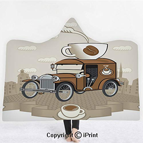 - Cars 3D Print Soft Hooded Blanket Boys Girls Premium Throw Blanket,Old Fashioned Car with Coffee Cup on The Top Caffeine Beverage Hot Drink Decorative,Lightweight Microfiber(Kids 50
