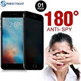 PERFECTSIGHT Privacy Screen Protector For iPhone 7/8 [Eye Care] Anti Glare Anti Spy Blue light Filter Full Coverage Fingerprint Proof 9H Tempered Glass Film (1 Pack)