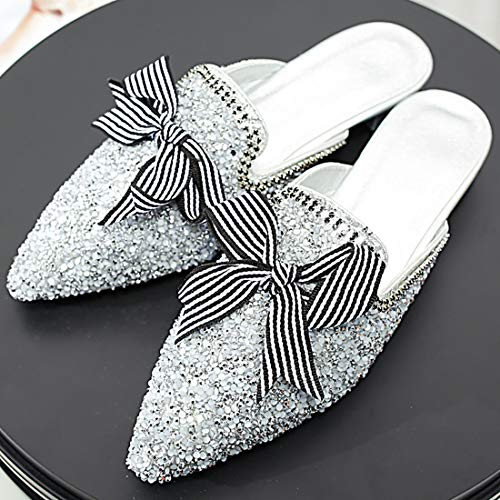 Fashion Flats Mules Eithy for Silver Suede Slip Bowknot Toe On Shoes Women Slippers Loafers Pointed xI8Uqw8