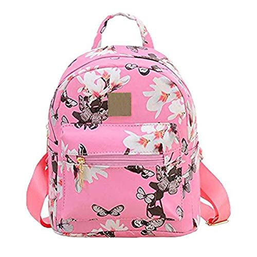 Donalworld Women Backpacks Girl Casual Flower Print PU Leather School Bags Pink