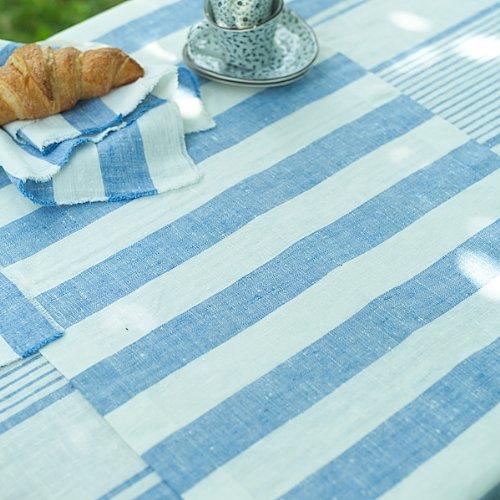 1 unidad. Camino de mesa Philippe de lino. Azul. LinenMe 50 x 131 ...