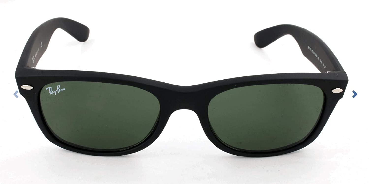 RAY-BAN RB2132 New Wayfarer Sunglasses, Black Rubber/Green, 55 mm