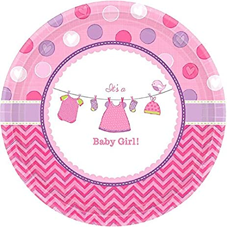 Pretty Shower with Love Girl Round Baby Shower Party Paper Plates Disposable Tableware and Dishware  sc 1 st  Amazon.com & Amazon.com: Pretty Shower with Love Girl Round Baby Shower Party ...