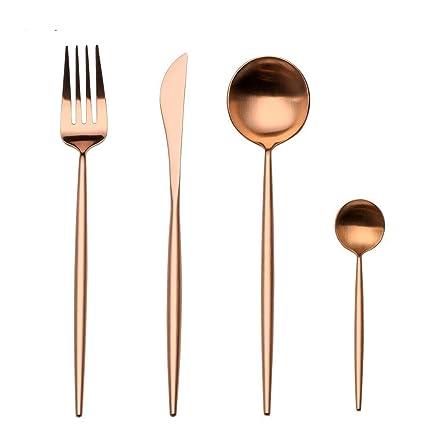 LEKOCH Cubiertos de acero inoxidable de 18/10, 4 piezas, que incluyen tenedores, cubiertos de cuchillos, cucharas para 1 (oro rosa)
