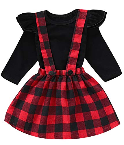 d804dc43abec Toddler Girls Christmas Outfit Set Baby Plaid Ruffles Tops and Dress ...