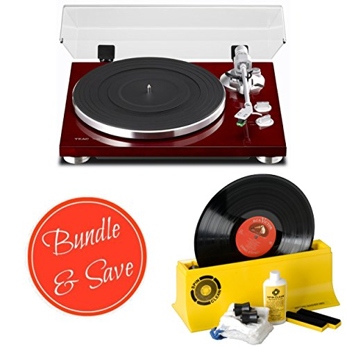 TEAC TN-300-CH Cherry Analog 2-Speed Turntable with Spin Clean Record Washer System MKII