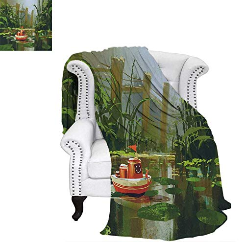 - Summer Quilt Comforter Toy Boat with Smile Face Robot Sailing on River Forest Cartoon Inspired Kid Friendly Digital Printing Blanket 80