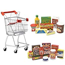 Melissa & Doug Shopping Cart with Wooden Pantry Products and Fridge Food Set